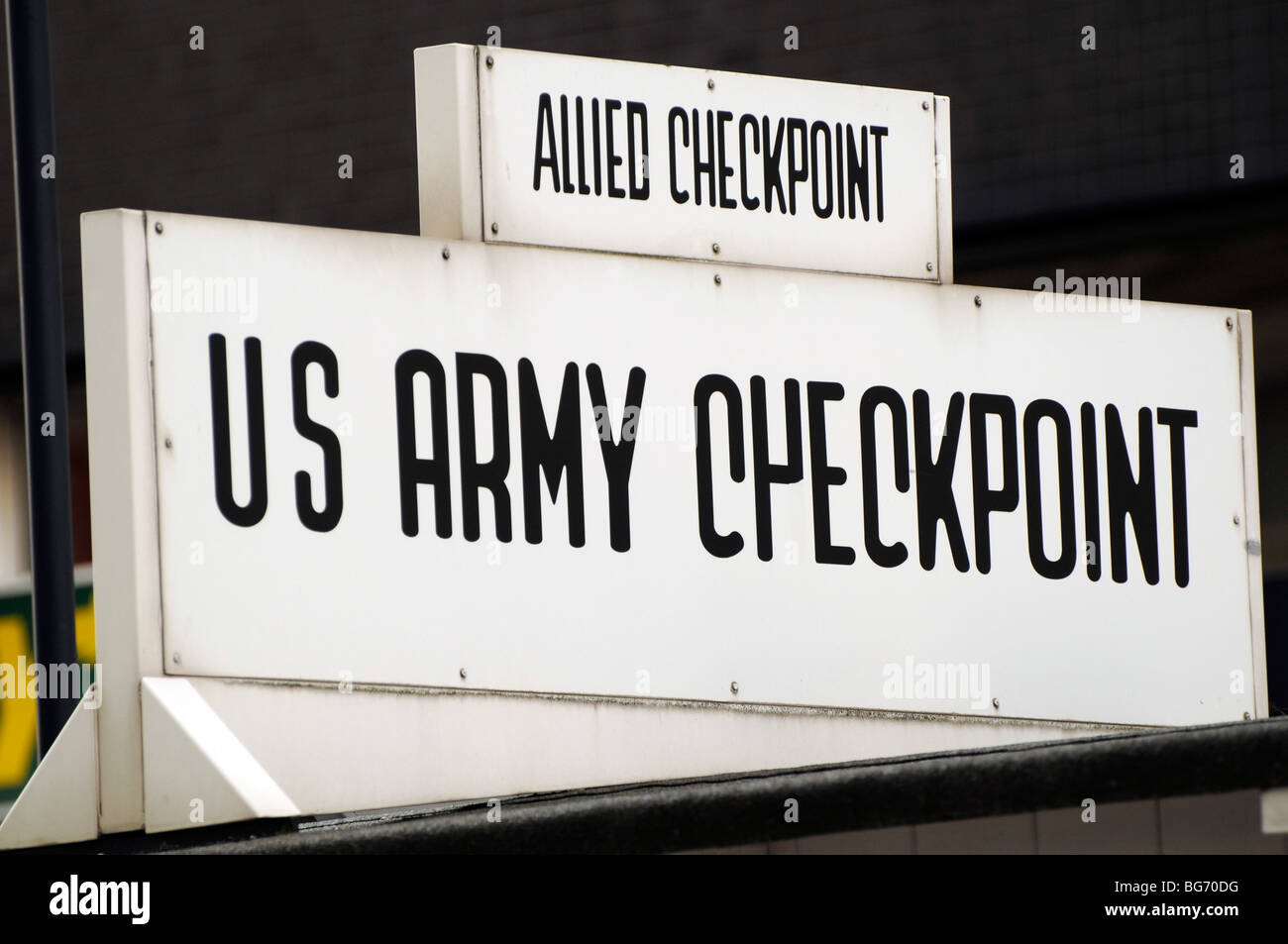 US Army Checkpoint sign, Checkpoint Charlie, Berlin. - Stock Image