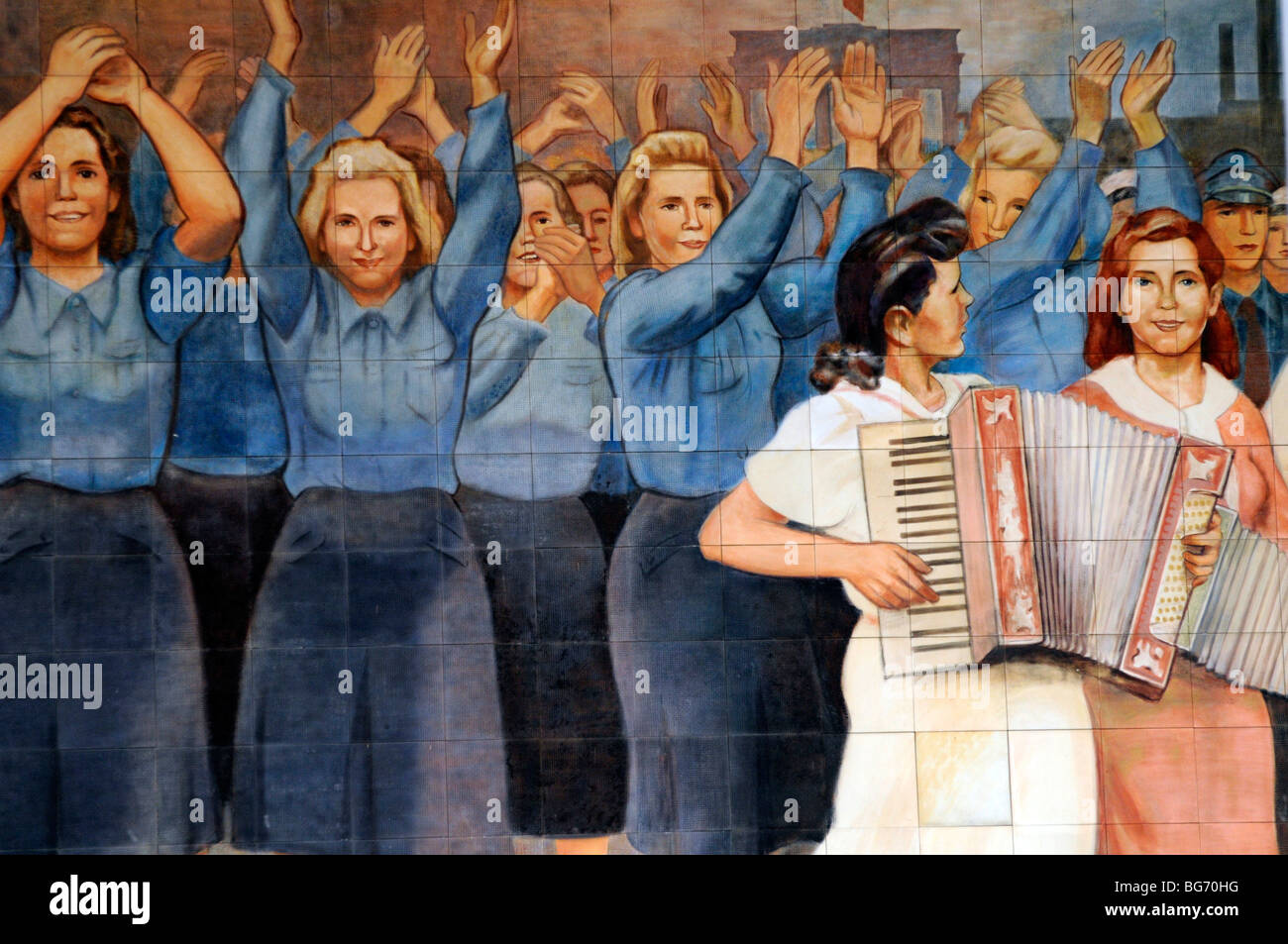 Mural depicting virtues of socialism on the Bundesministerium der finanzen (Federal Ministry of Finance), Berlin. - Stock Image