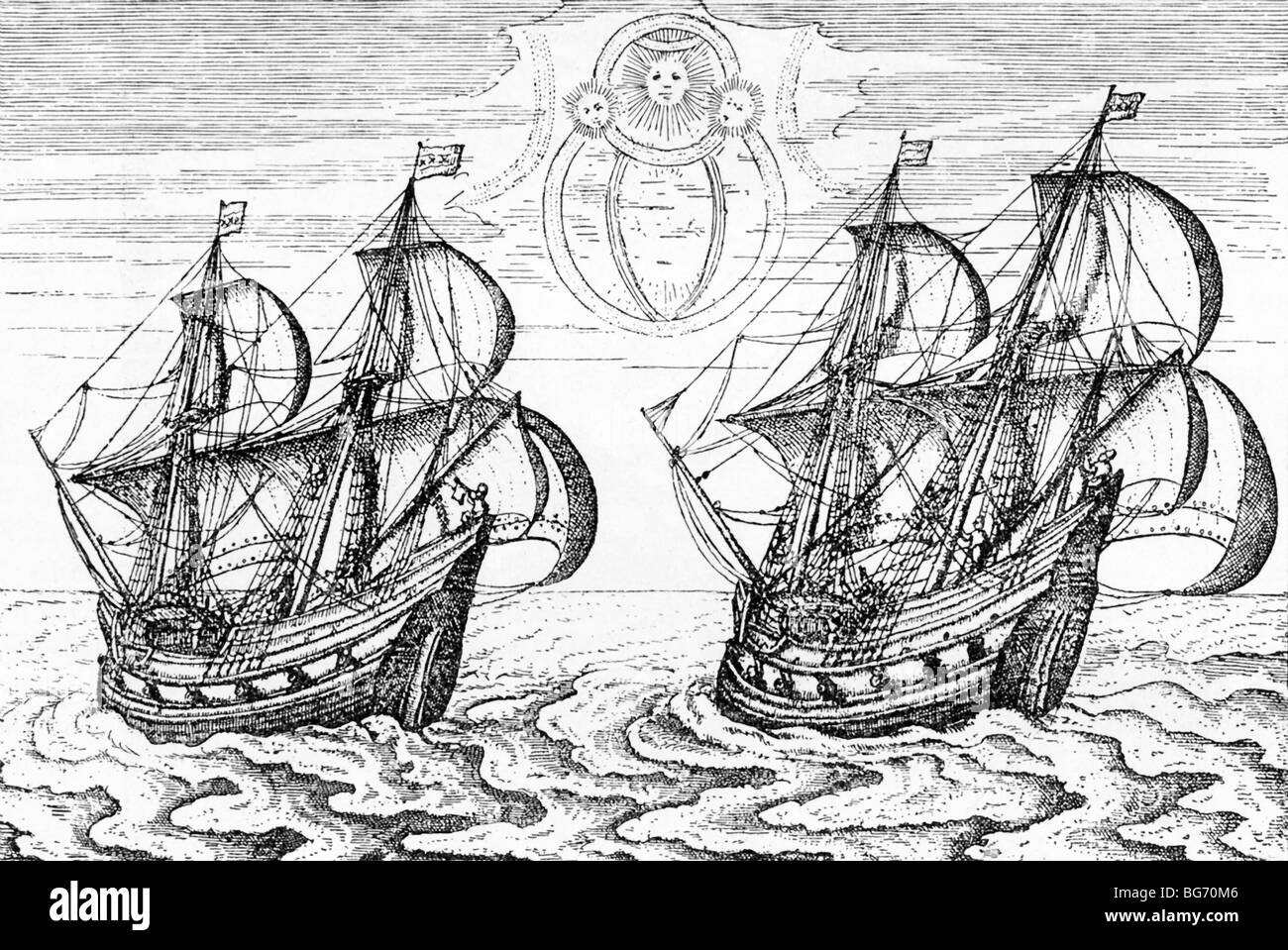 Two of  Dutch navigator Willen Barents' ships as depicted in  account of Barents' three voyages (1594-1597) - Stock Image
