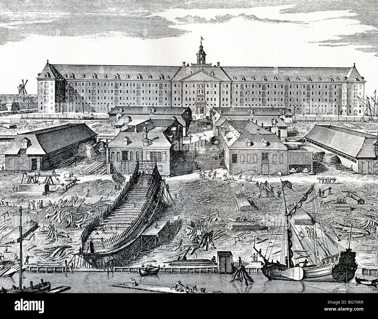 This engraving, by J. Mulder , shows a dock of the Dutch East India Company  (VOC) in Amsterdam around 1725. - Stock Image