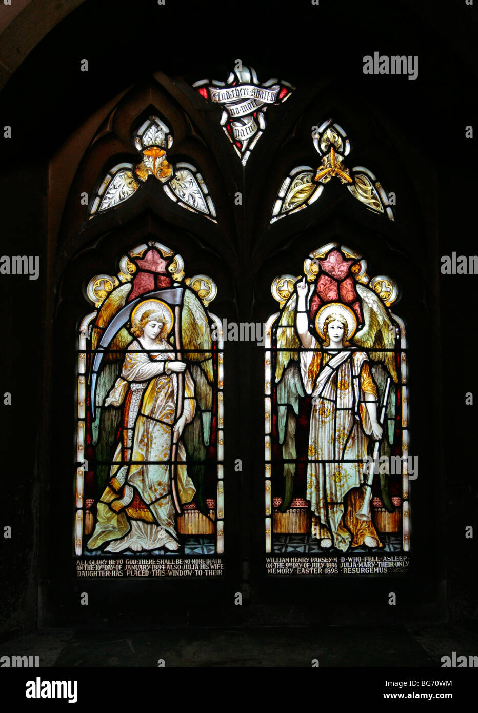 A stained glass window depicting Angels of the Apocalypse; Hatton Church, Warwickshire - Stock Image
