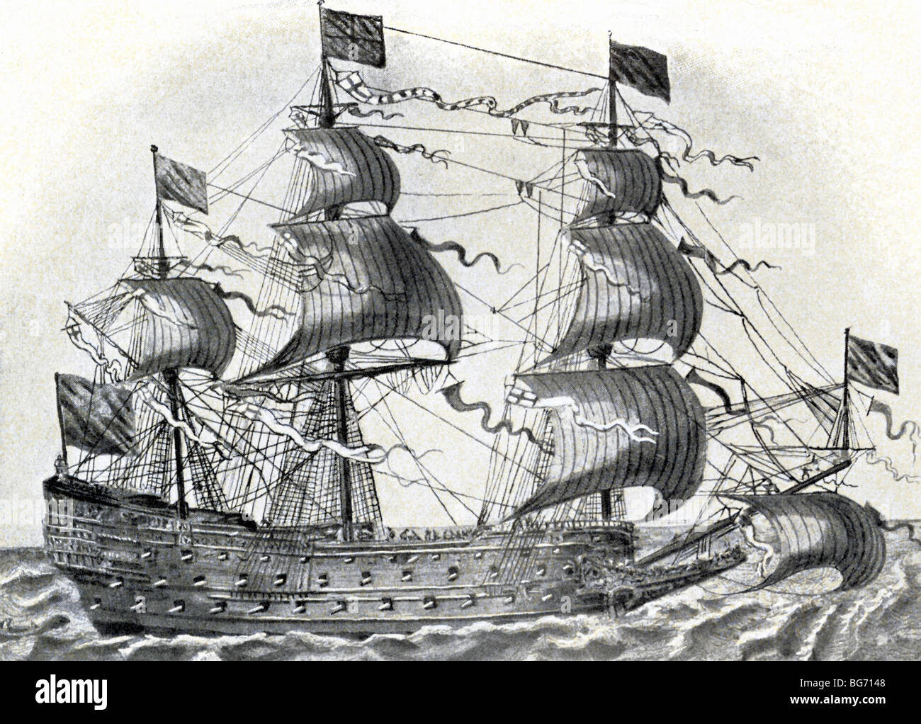 This English warship belonged to the class known as ship-of-the-line, a fighting tactic used at the time (1600s Stock Photo