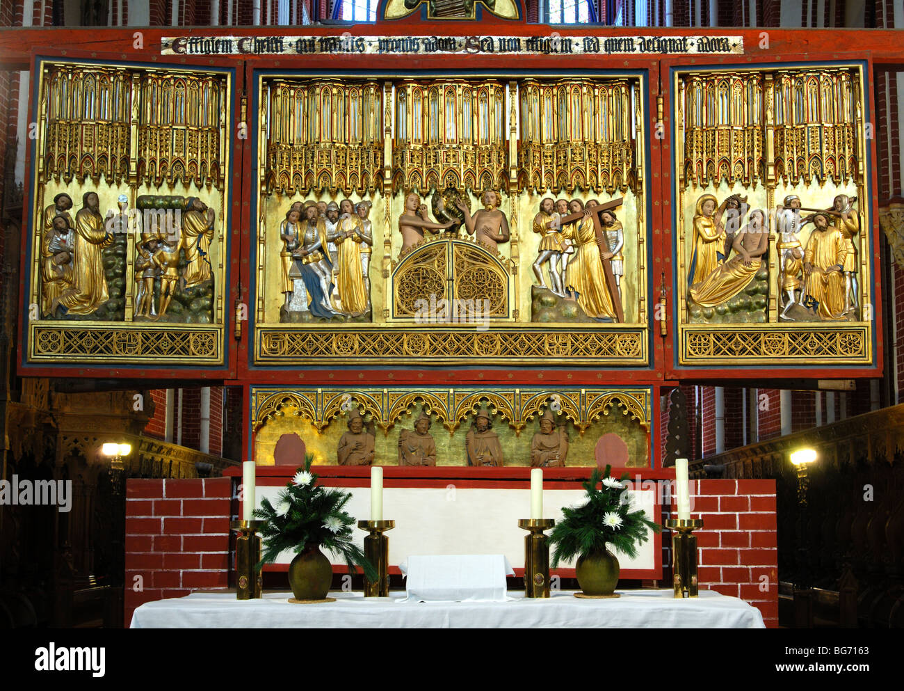 Depictions on the side of Christ of the double sided cross altar, Muenster Bad Doberan, Mecklenburg-Western Pomerania, - Stock Image