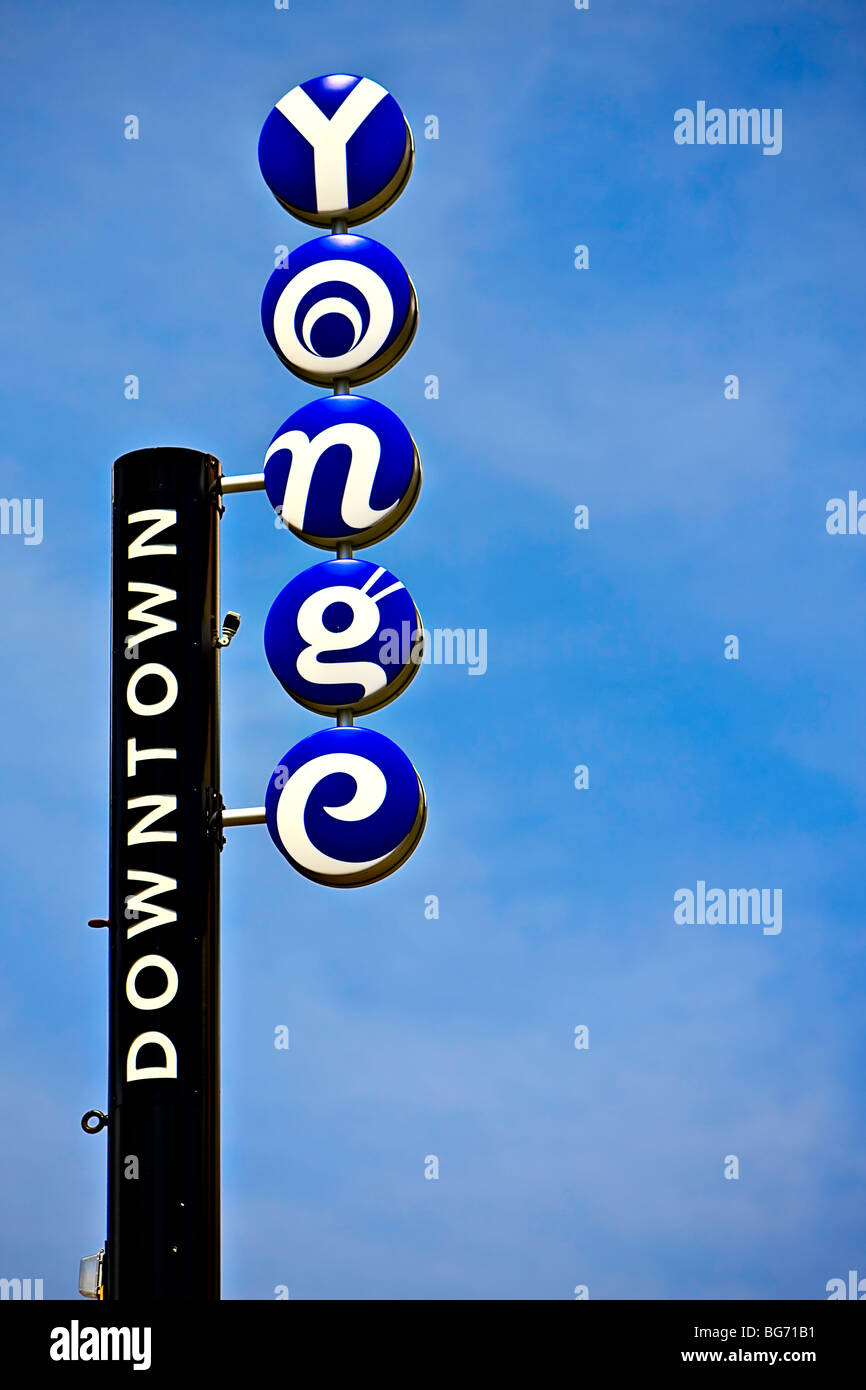 Yonge Street sign in downtown Toronto, Ontario, Canada. - Stock Image