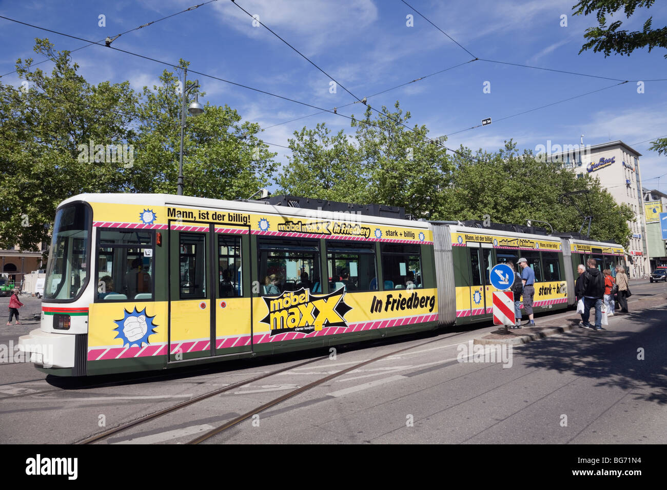 Augsburg, Bavaria, Germany, Europe. City Tram on tramway network in efficient public transport system - Stock Image