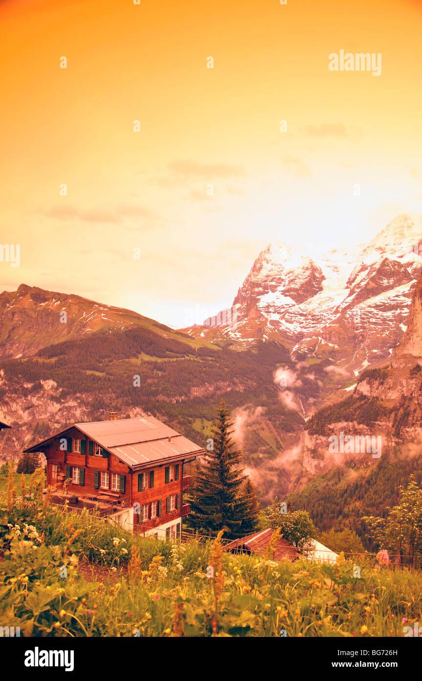 View from Murren, Switzerland - Stock Image