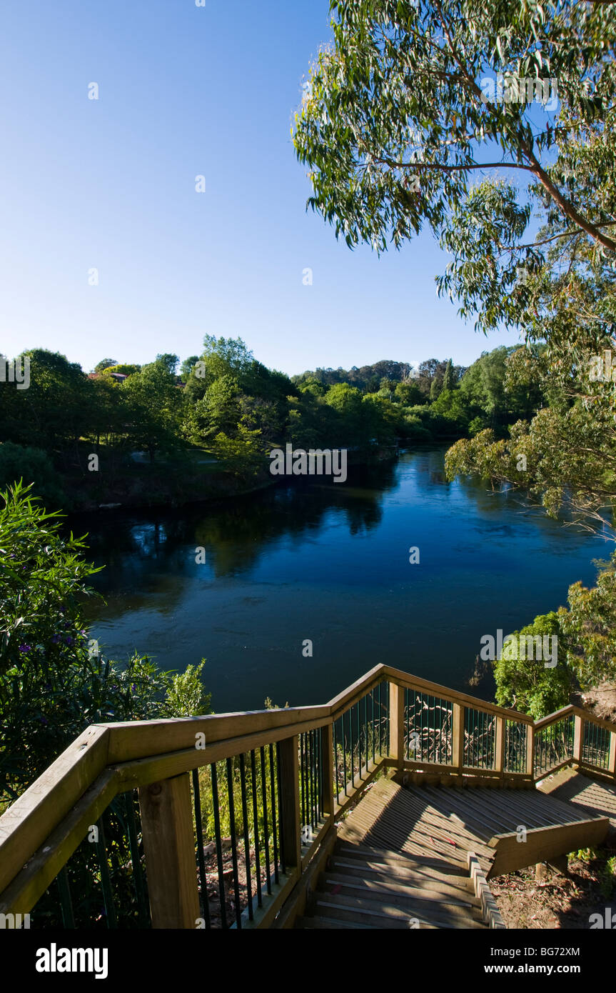 Waikato river and wooden steeps - Stock Image
