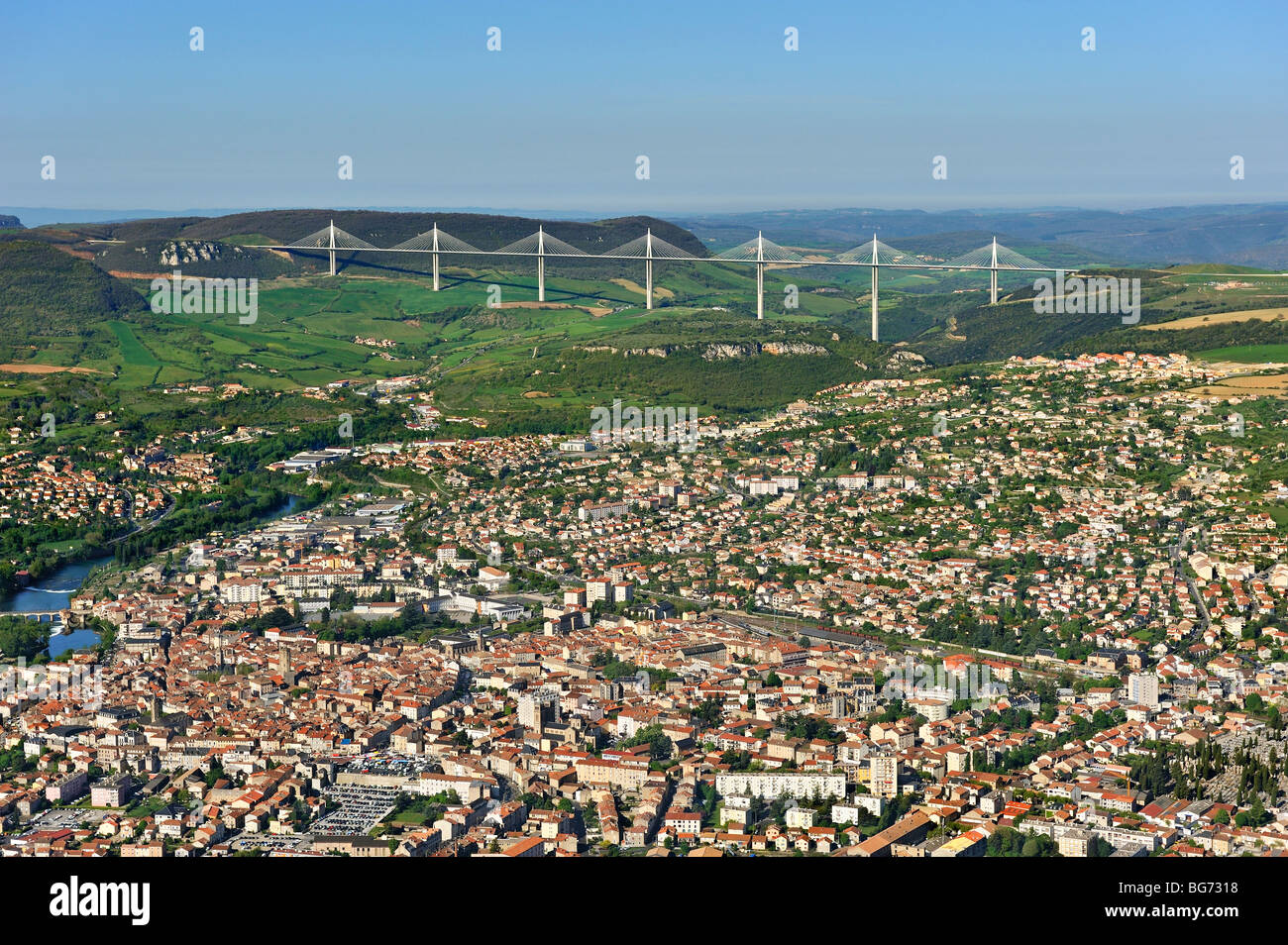 Millau and the viaduct , France. - Stock Image