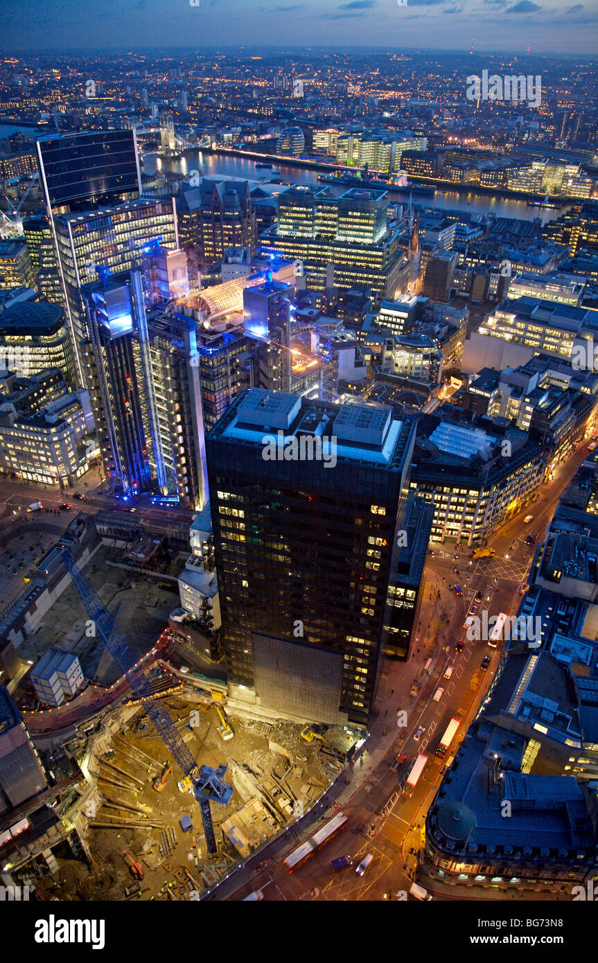Evening aerial view from old broad street looking down to lloyds building and Pinnacle construction site - Stock Image
