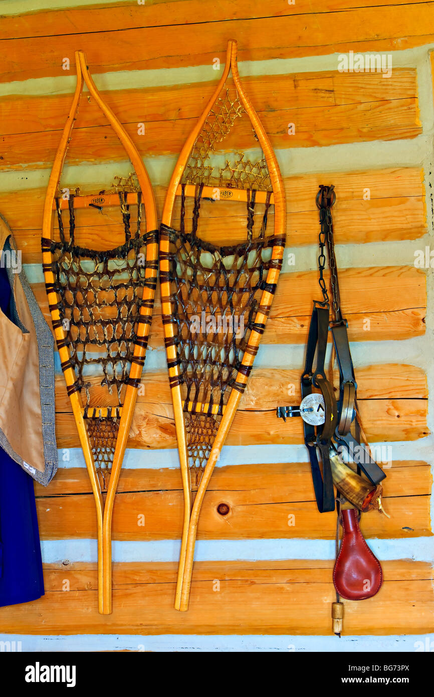Pair of snowshoes and a trap in the Warehouse/Barn at the Last Mountain House Provincial Park, Saskatchewan, Canada. - Stock Image