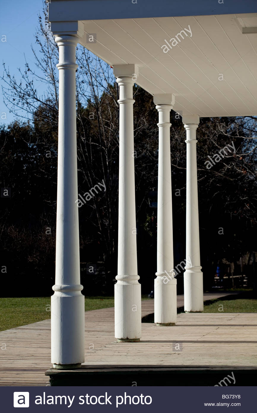 Composite columns of Wilmot Township Town Hall 1836 moved to Black Creek Pioneer Village in Toronto Ontario Canada - Stock Image