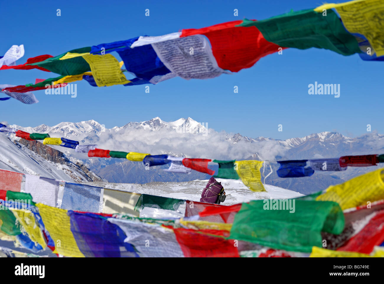Hiking.Himalayas,Nepal,trekking,Backpacking, Himalaya trekking, Nepal trekking, Annapurna trekking, Annapurna, Nepal - Stock Image