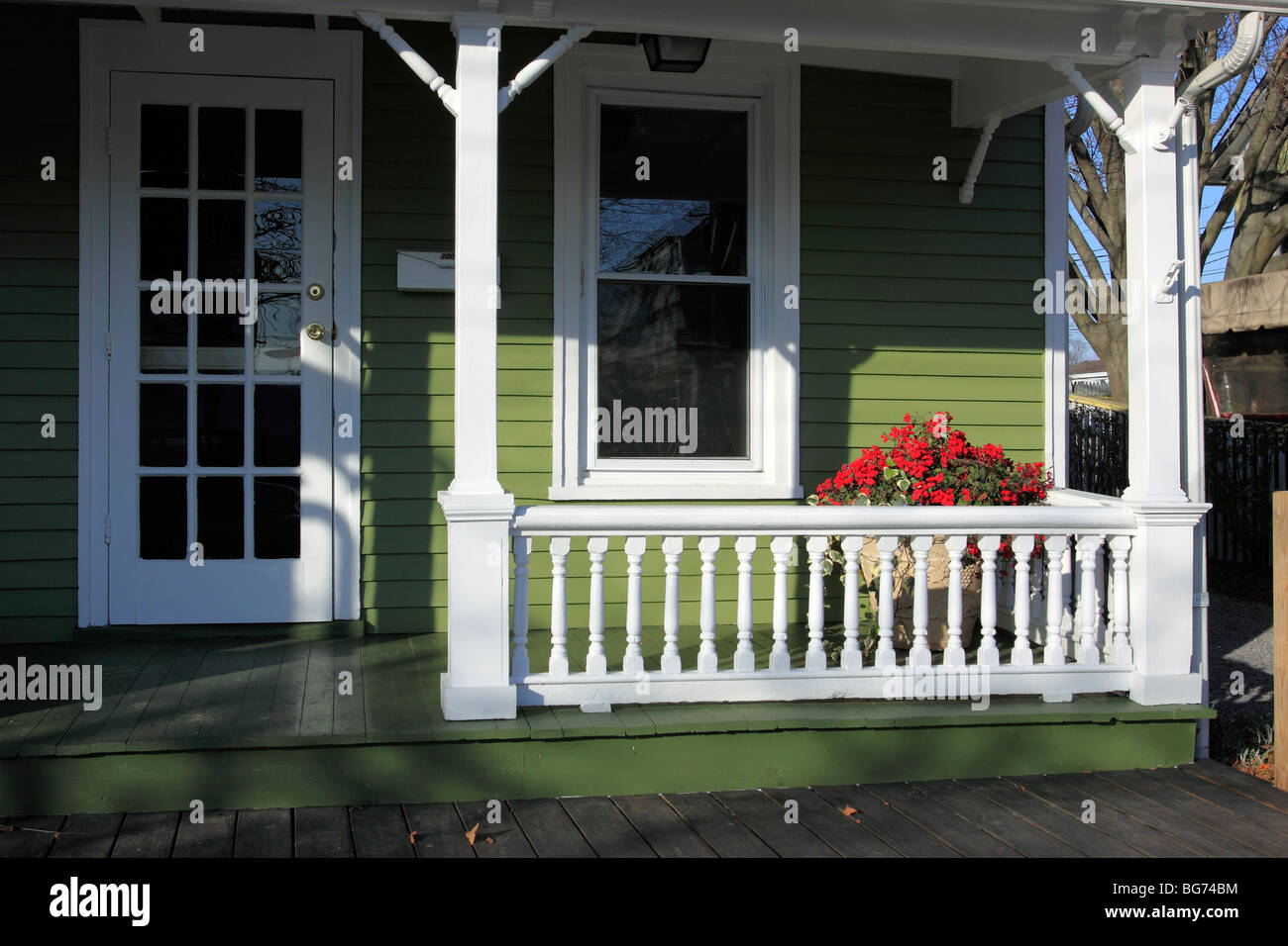 Front entrance and porch of home, Greenport, Long Island, NY - Stock Image
