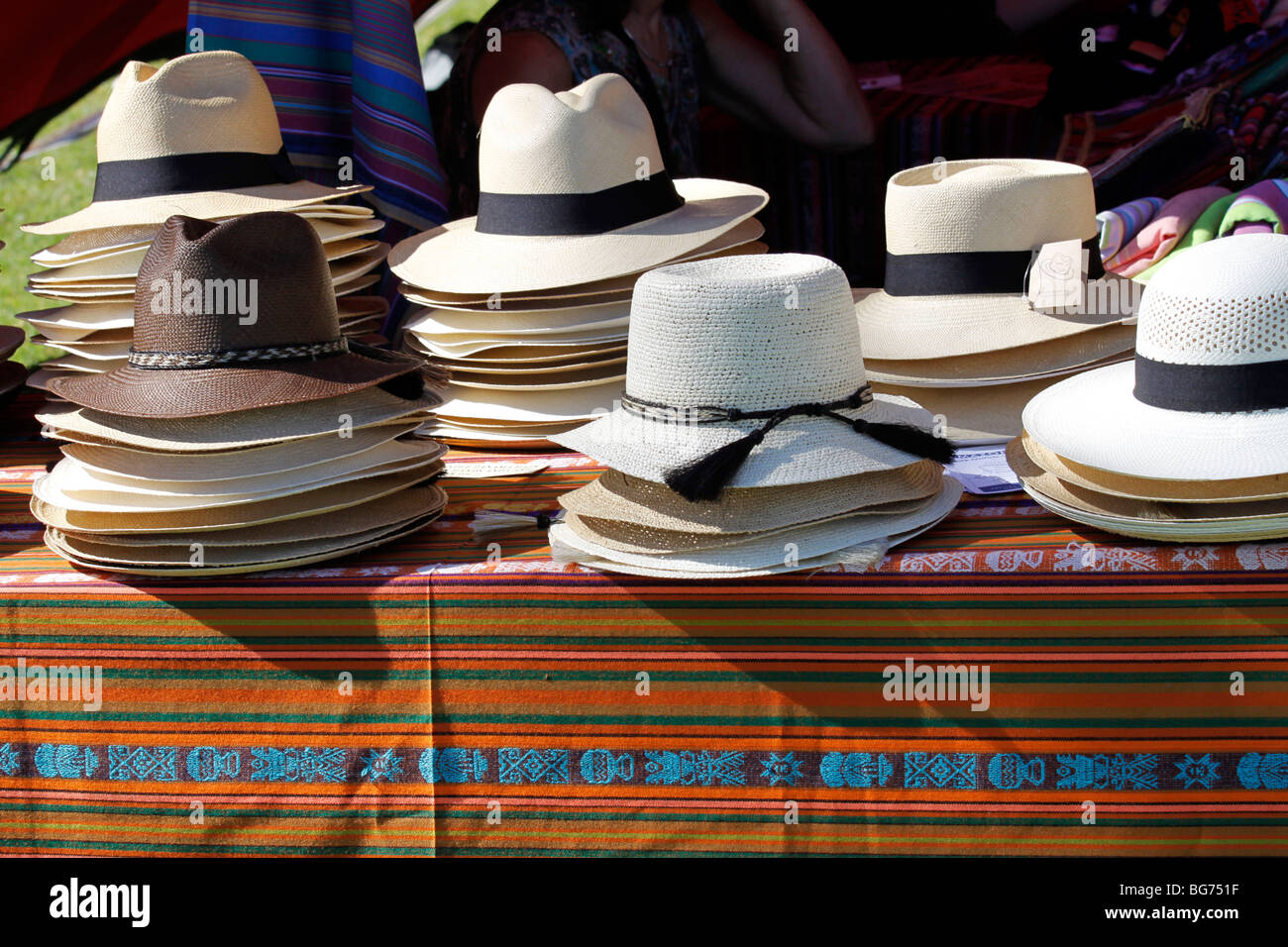 92fb7fa7d39504 Display of hats for sale at neighborhood market in Tokai near Cape Town.  Suretha Rous / Alamy Stock Photo