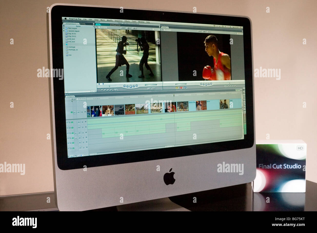'Apple Final Cut Pro 7' video editing software displayed on imac - Stock Image
