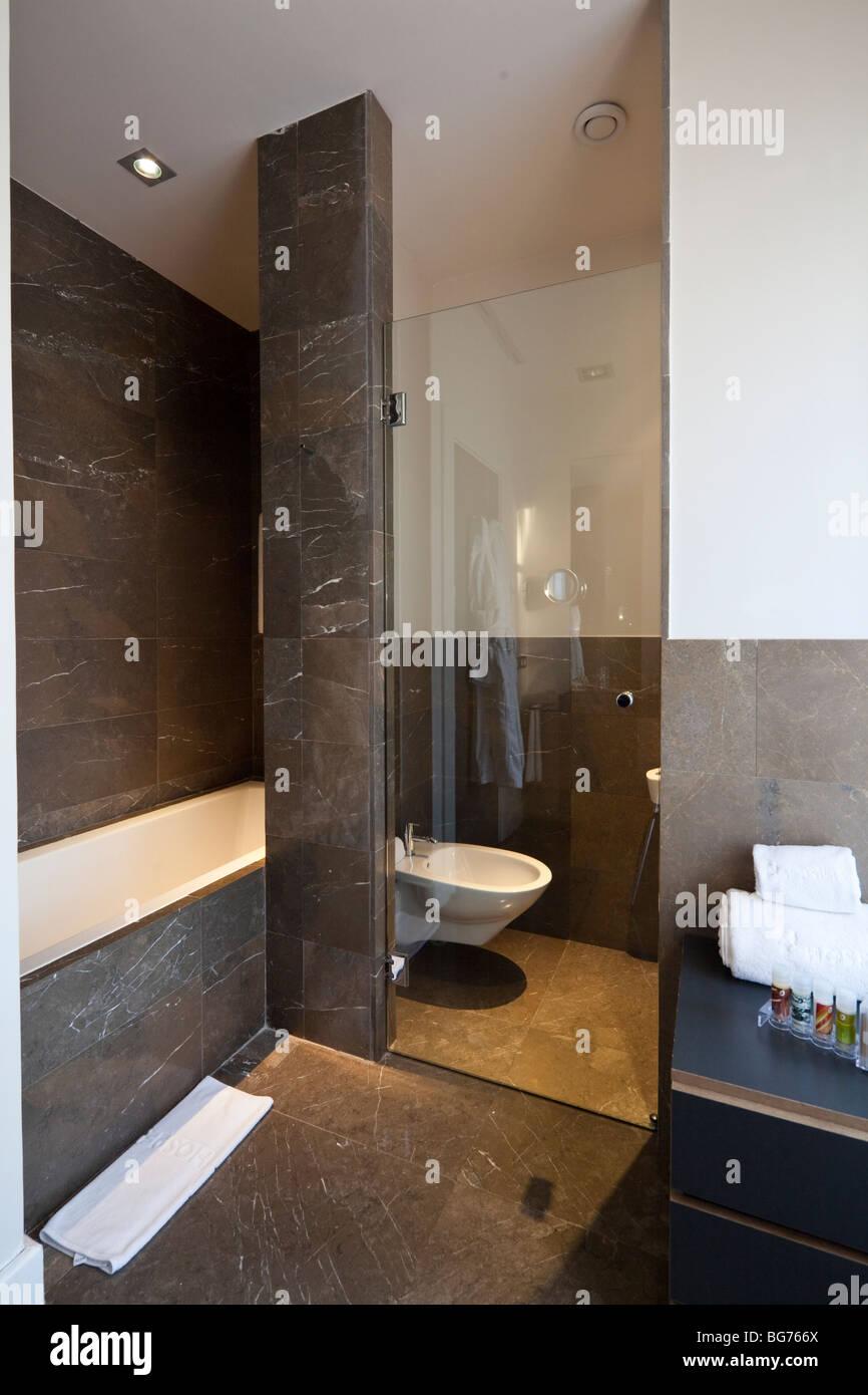 bathroom, Hospes Palace del Bailío, Cordoba, Andalusia, Spain - Stock Image