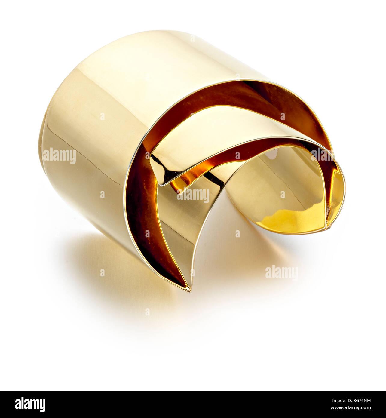 gold 80's style bracelet bangle - Stock Image