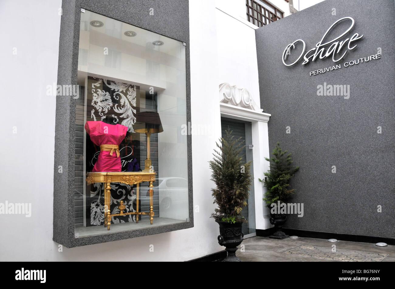 luxury mode shop, Oshare peruvian couture, Lima, Peru - Stock Image
