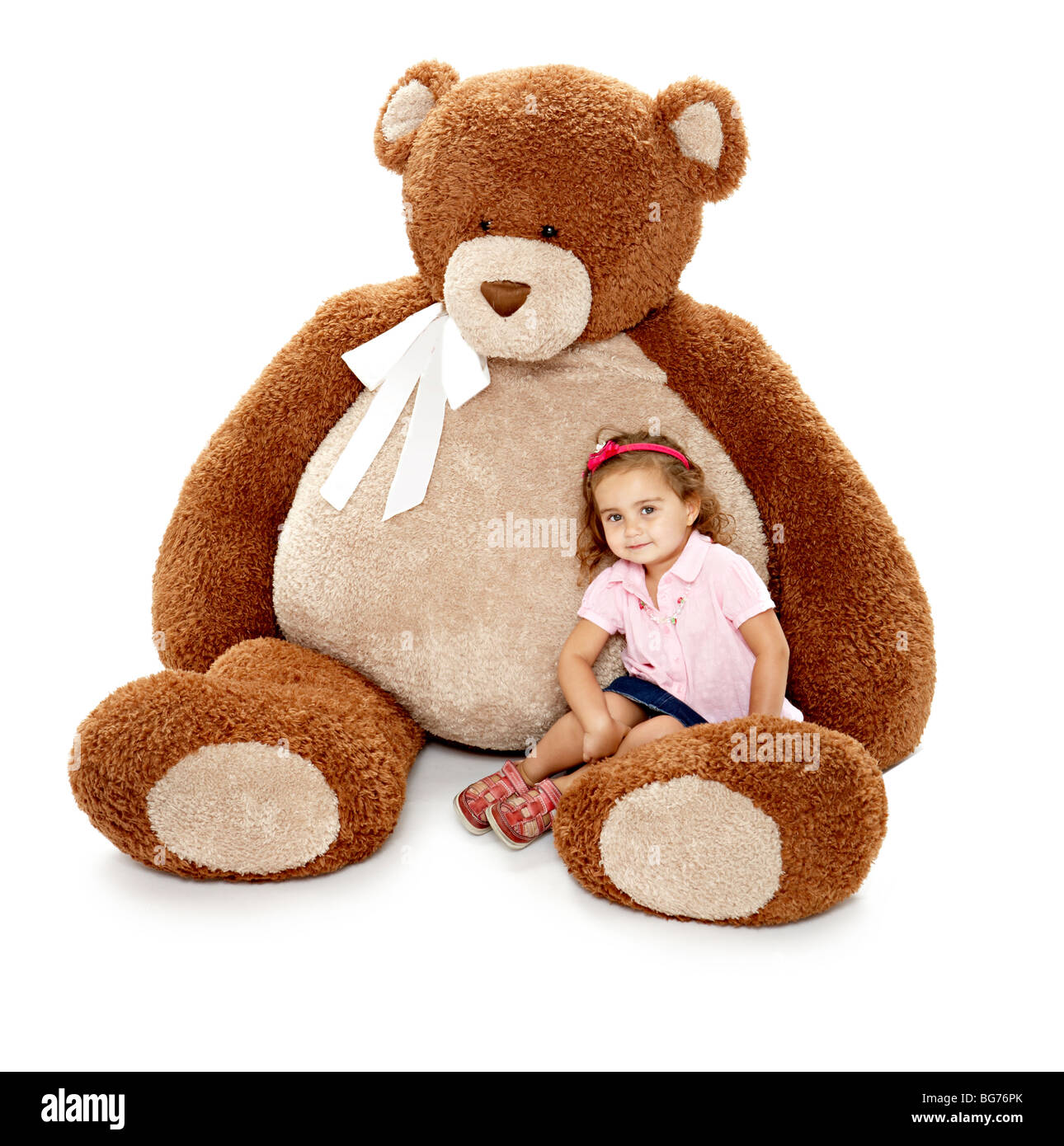 Giant Teddy Bear With Child   Stock Image