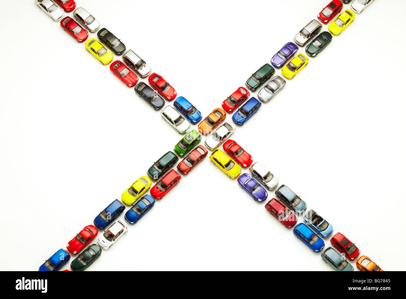 Model Cars in X Shape - Stock Image