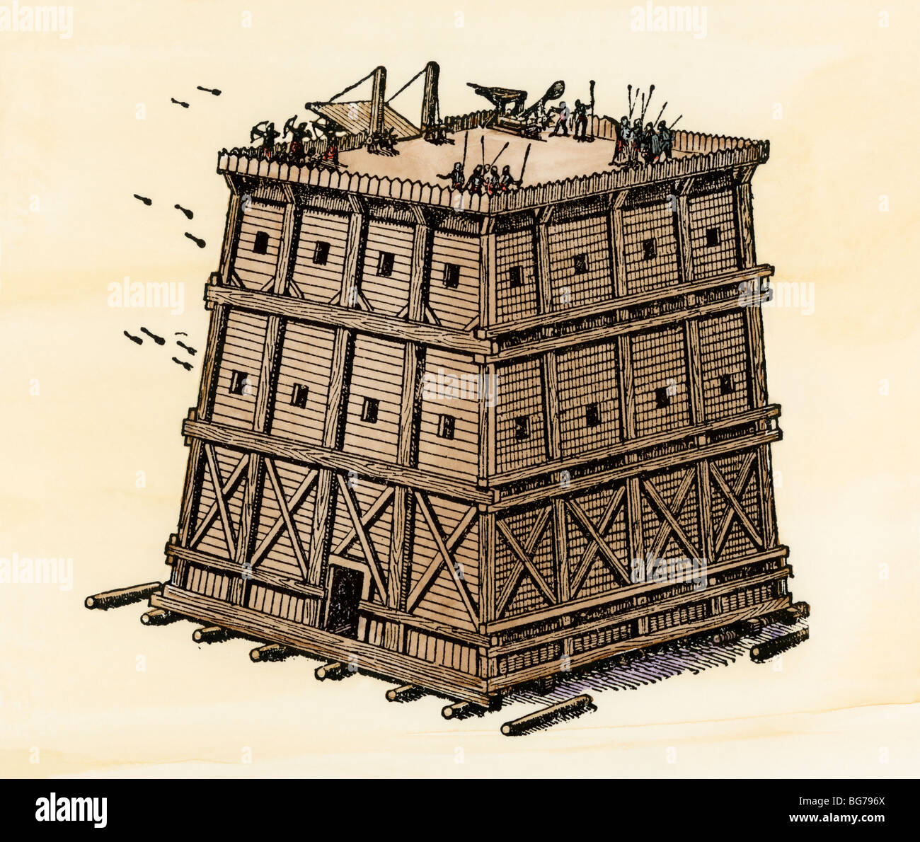 Siege machine, used in ancient and medieval warfare. Hand-colored woodcut - Stock Image