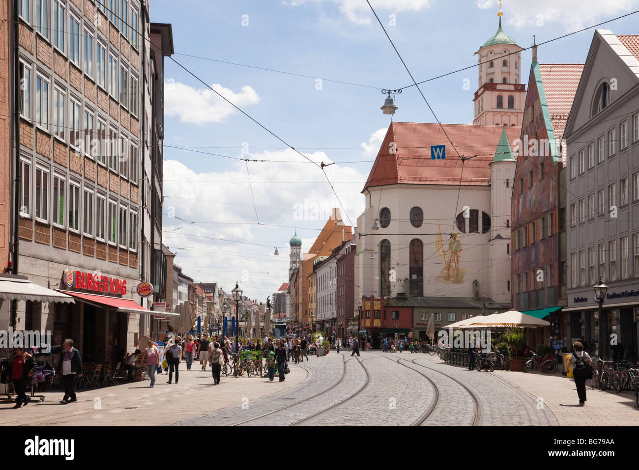 maximilianstrasse augsburg bavaria germany tram lines on cobbled stock photo 27205874 alamy. Black Bedroom Furniture Sets. Home Design Ideas