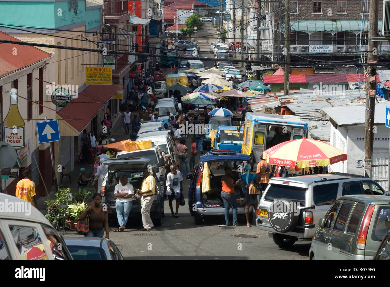 Overall View of the Busy Street Spice Market, Saint George's, Grenada, West Indies. - Stock Image