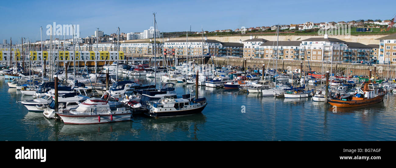 A panoramic view of yachts moored in Brighton Marina, England. - Stock Image