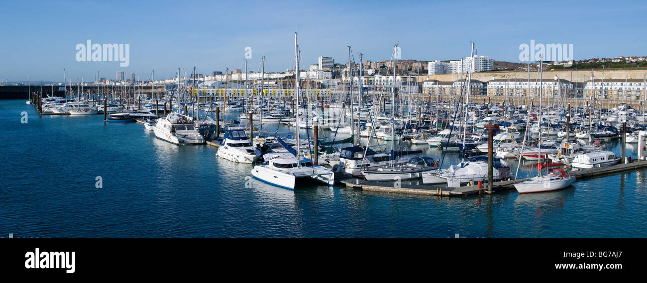 A panorama of yachts moored in Brighton Marina, England. - Stock Image