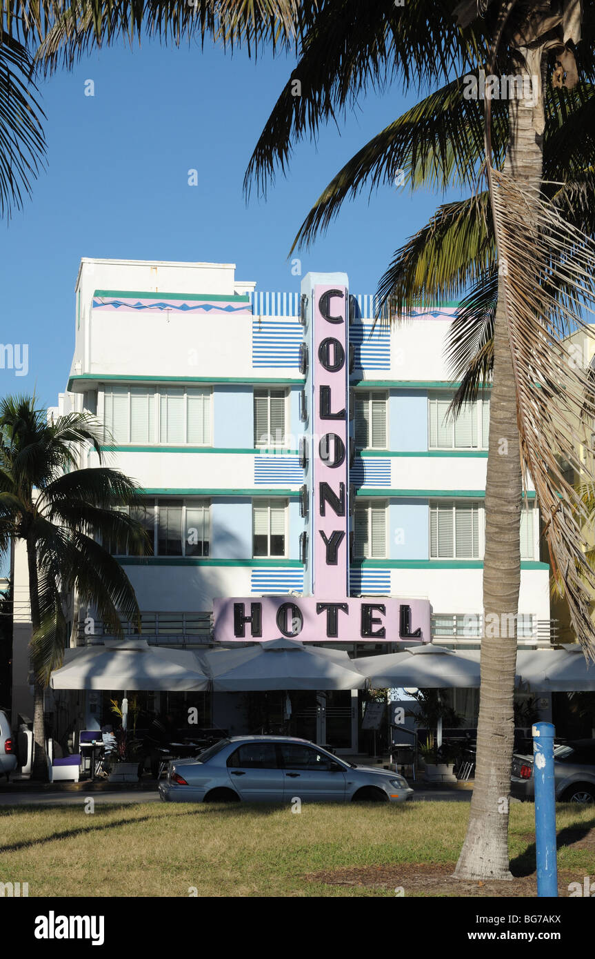Colony Hotel in the Art Deco District of Miami South Beach, Florida USA - Stock Image