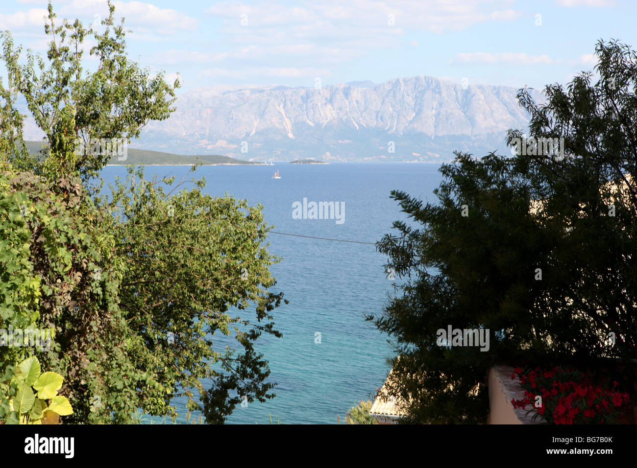 View across the Ionian sea from the Greek Island of Lefkas towards the Greek mainland - Stock Image