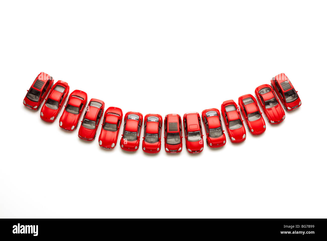 Model Cars in Smile Shape - Stock Image