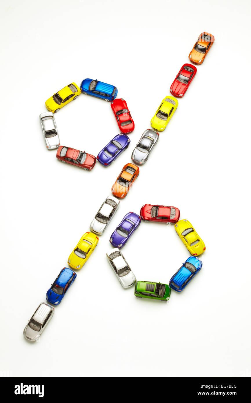 Model Cars in Percentage Shape - Stock Image