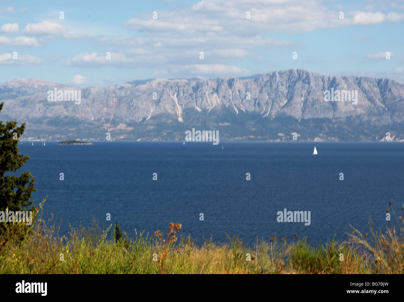 View across the Ionian sea from the Greek Island of Lefkas towards Greek mainland - Stock Image