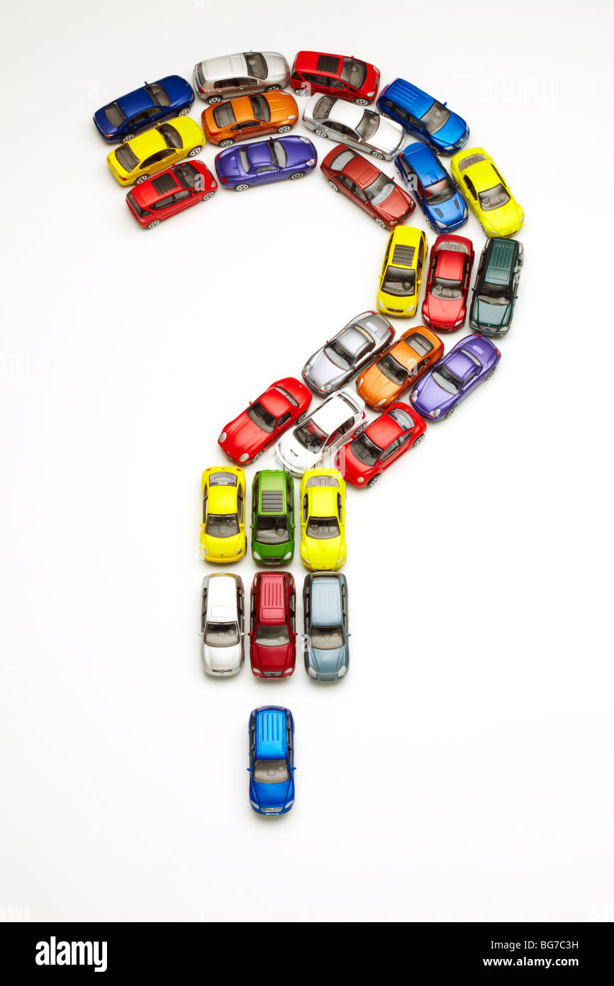 Model Cars in Question Mark Shape Stock Photo