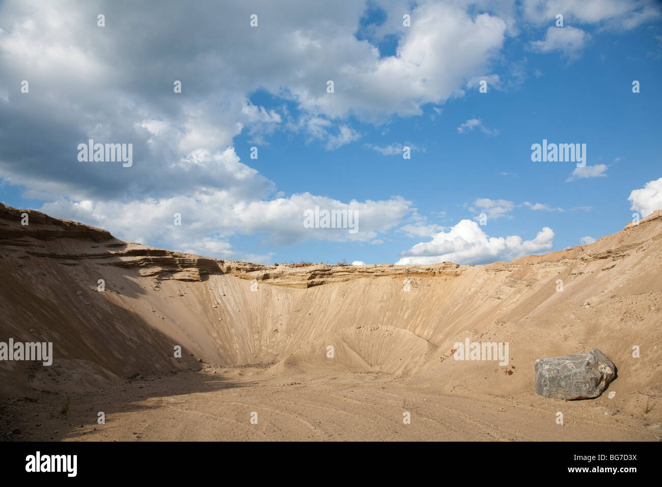 Wall of a sandpit on a sandy ridge , Finland - Stock Image