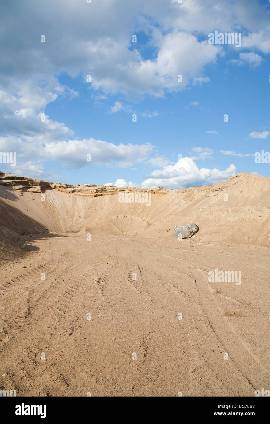 View of a gravel pit at esker , Finland - Stock Image
