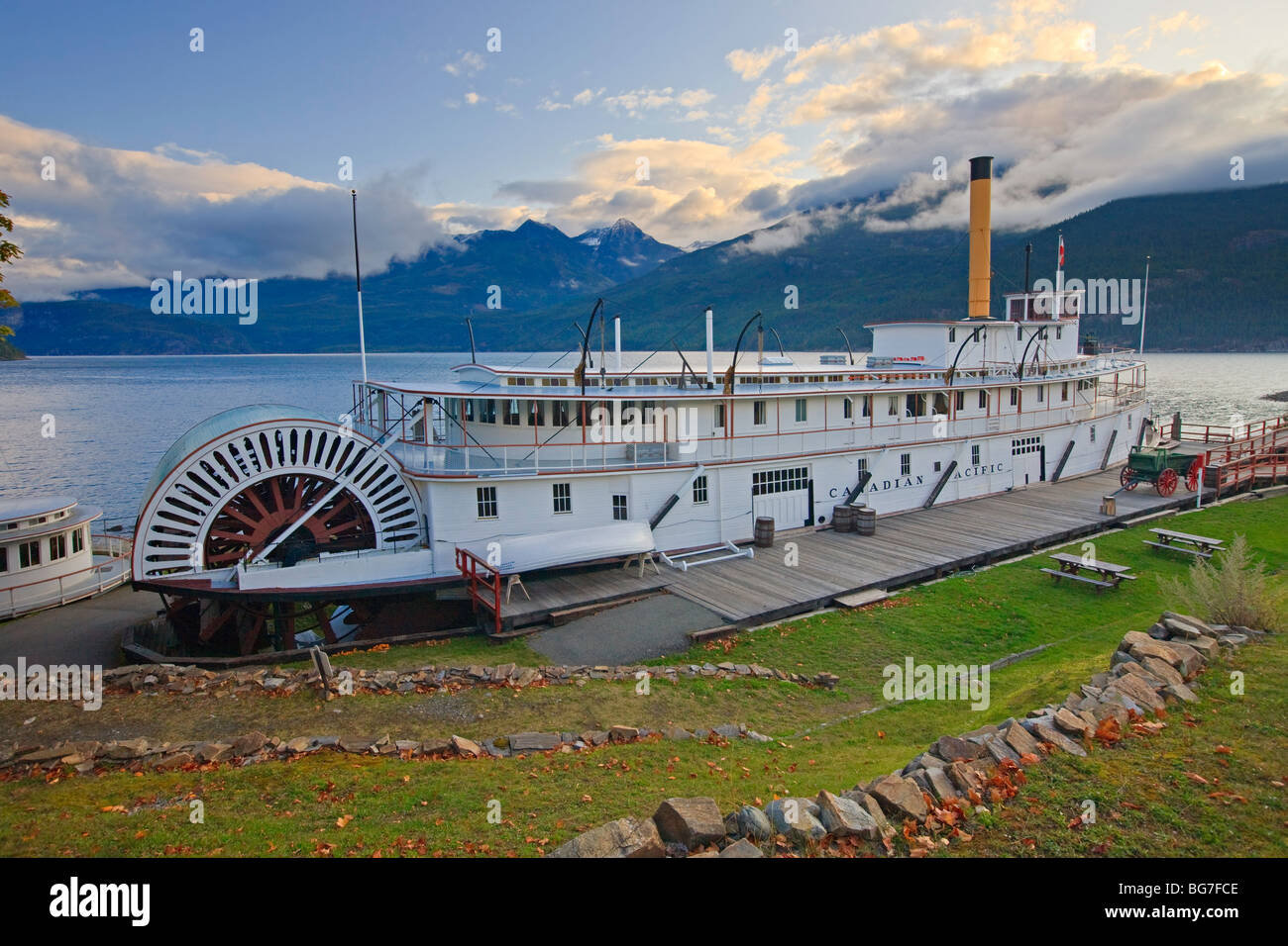 SS Moyie National Historic Site on the shores of Kootenay Lake in the town of Kaslo, Central Kootenay, British Columbia, - Stock Image