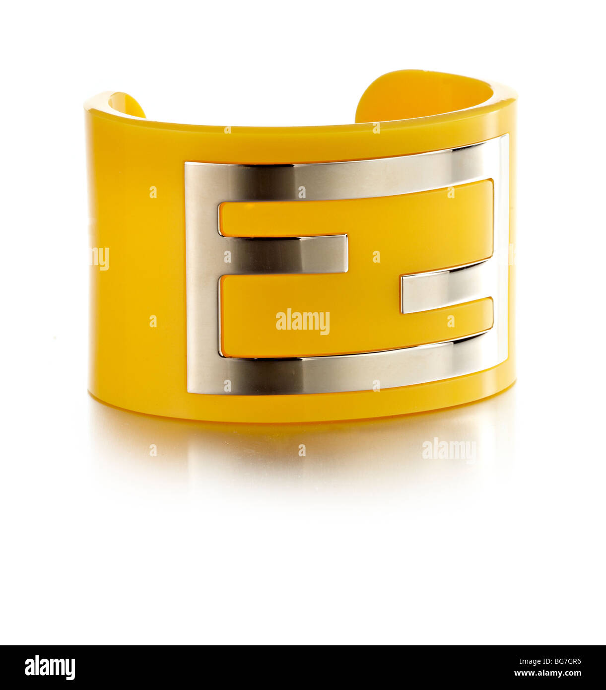 80's style orange plastic and metal bangle bracelet - Stock Image