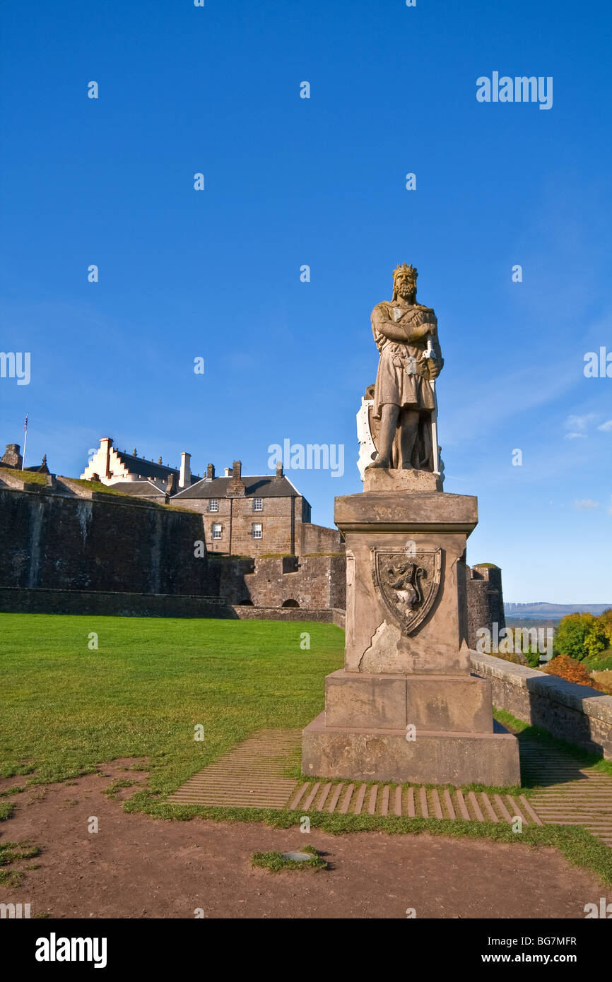 Robert The Bruce Statue Outside Stirling Castle, Stirling, Scotland Stock Photo