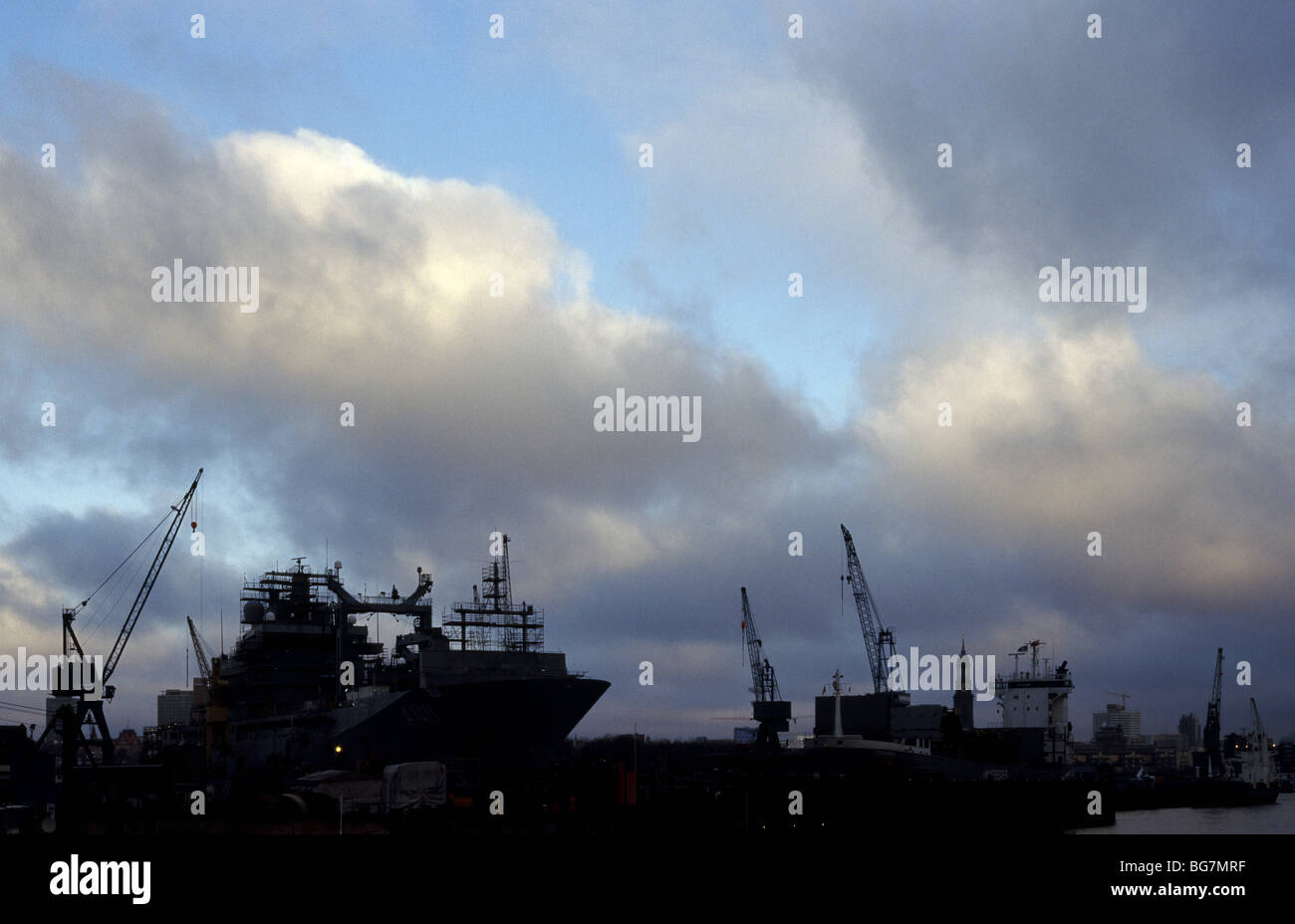 Dec 12, 2009 - German Navy replenishment oiler Berlin (A1411) at Norderwerft ship yard in the German port of Hamburg. - Stock Image
