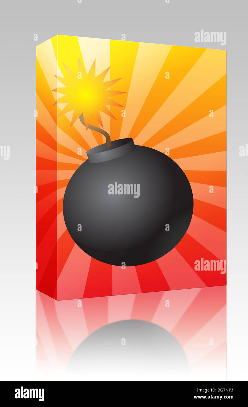 Software package box Old fashioned round black bomb with lit fuse - Stock  Image