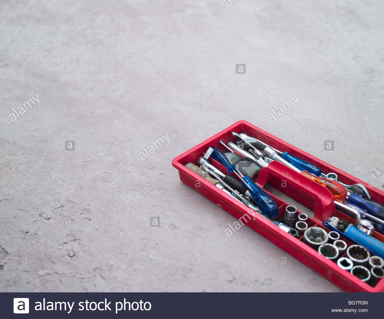 Tools in tray - Stock Image