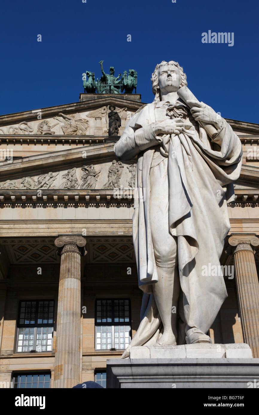Germany, Berlin, Gendarmenmarkt, Schauspielhaus, Konzerthaus, Concert Hall, Monument to Poet Schiller - Stock Image
