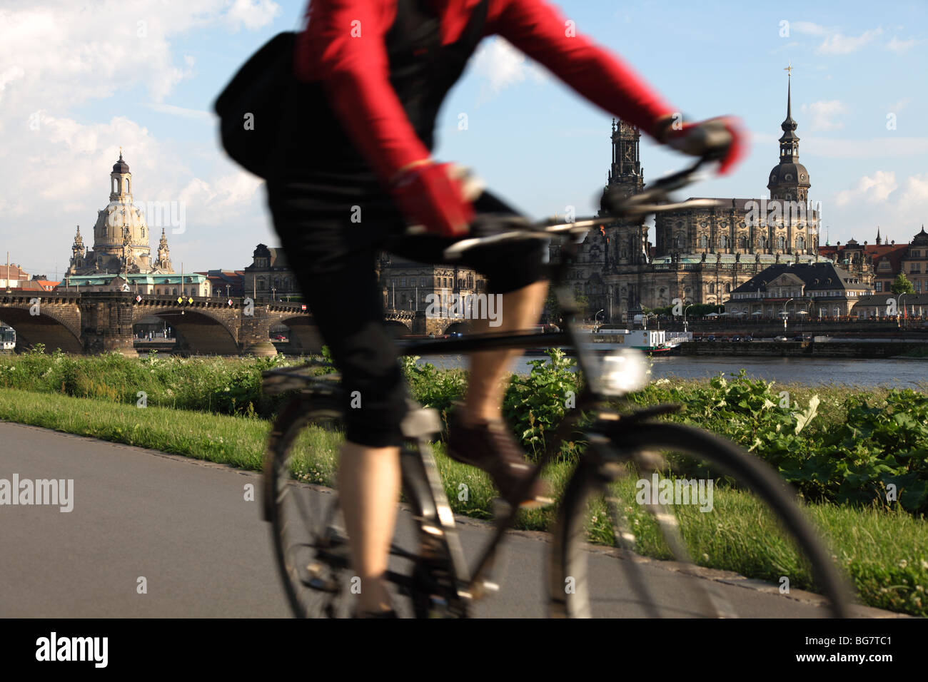 Germany, Saxony, Dresden, Old Town, Bike Riding along the River Elbe - Stock Image