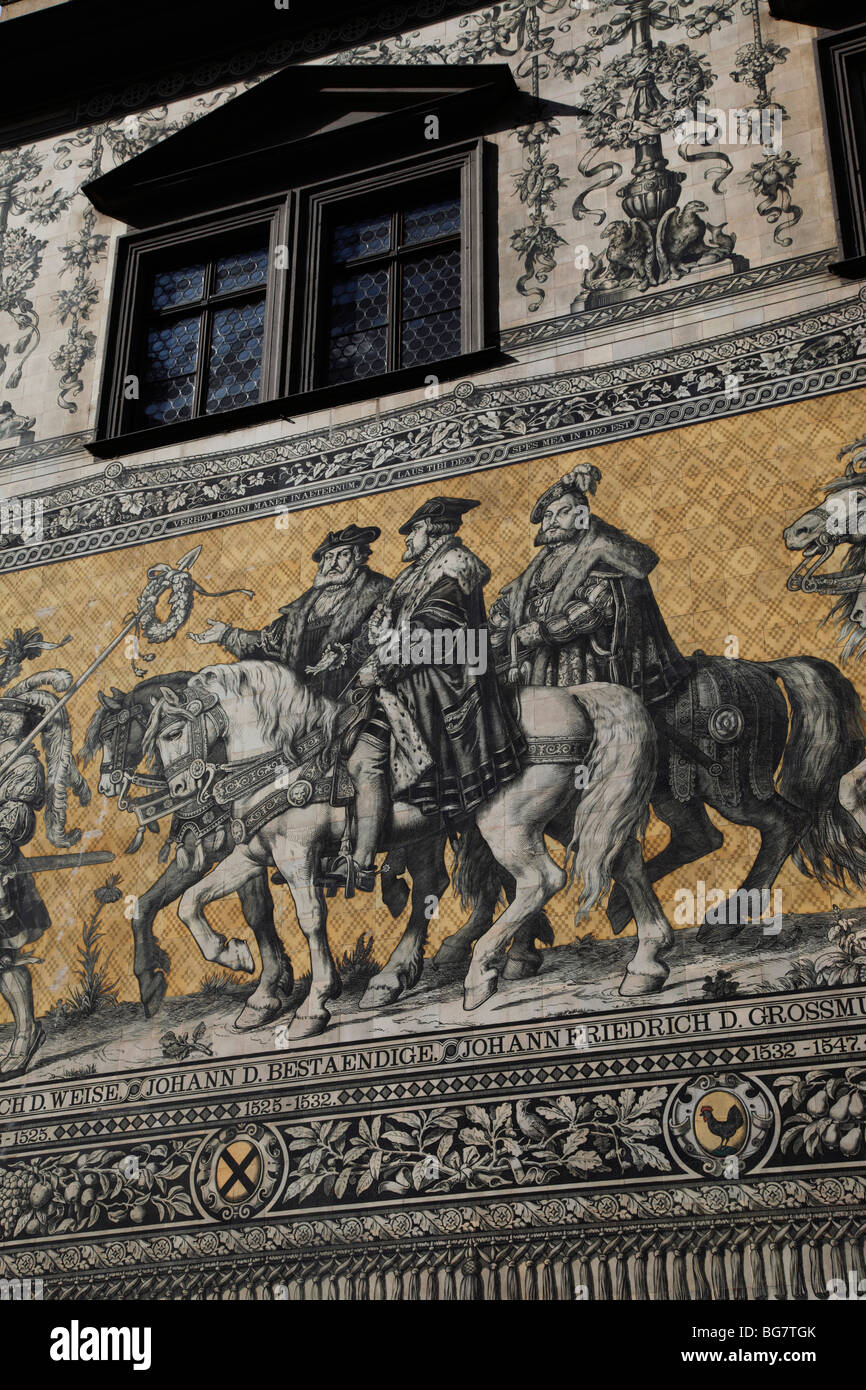 Germany, Saxony, Dresden, Old Town, Procession of Princes, Meissen Porcelain Tiles - Stock Image