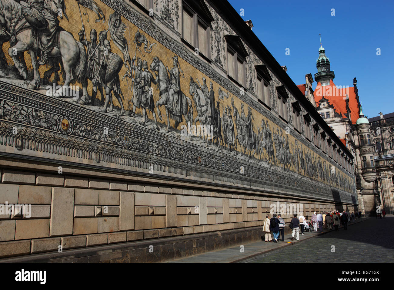 Germany, Saxony, Dresden, Old Town, Procession of Princes, Meissen Porcelain Tiles, Tourists - Stock Image
