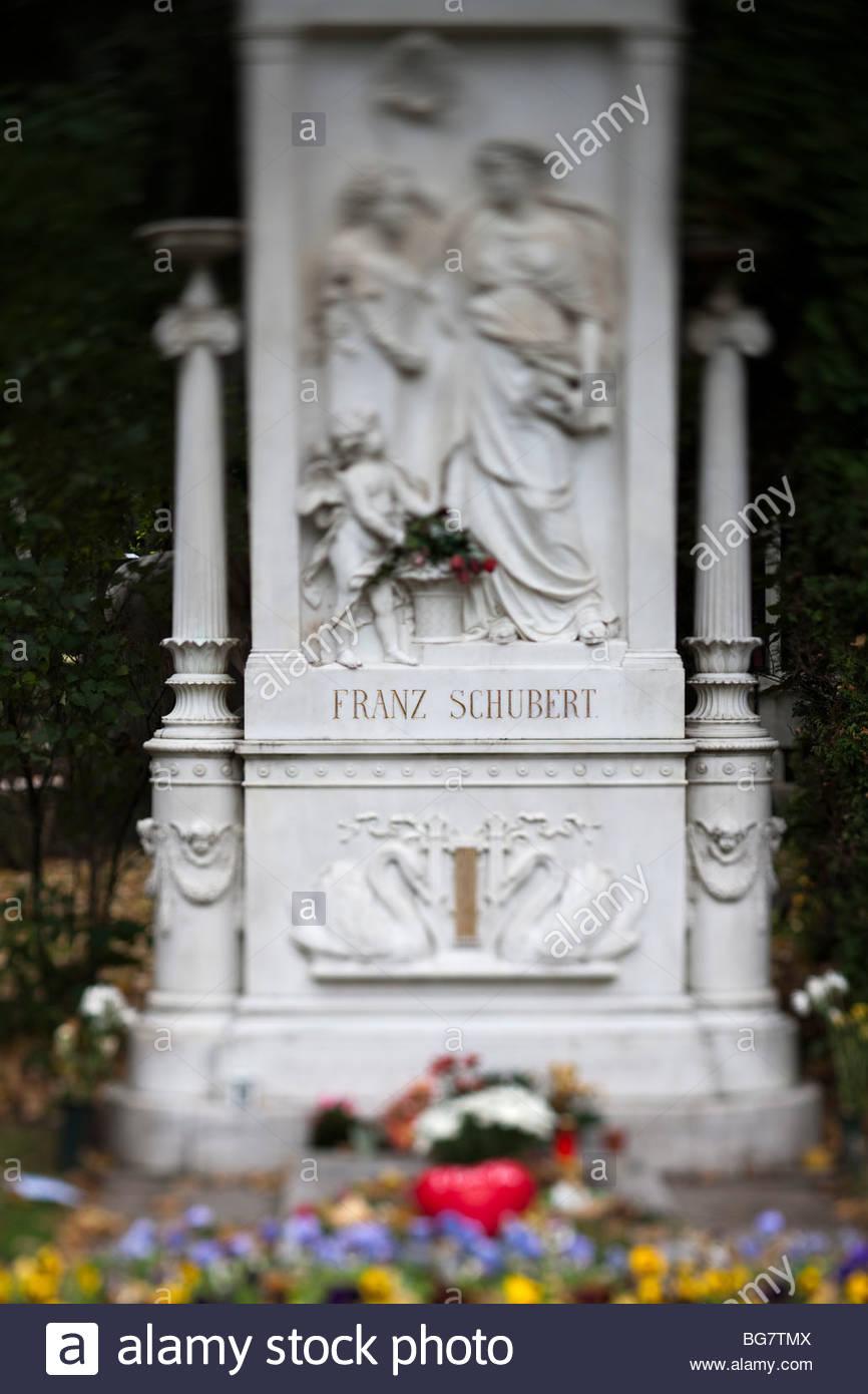 tomb of composer Franz Schubert, Vienna - Stock Image