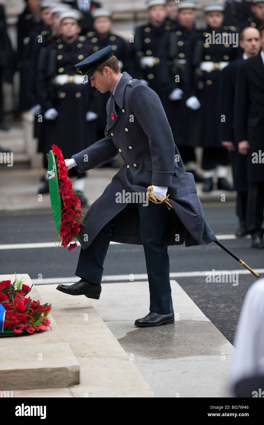 Britain's Prince William, wearing the uniform of an RAF officer, lays a wreath at the Cenotaph in London on - Stock Image