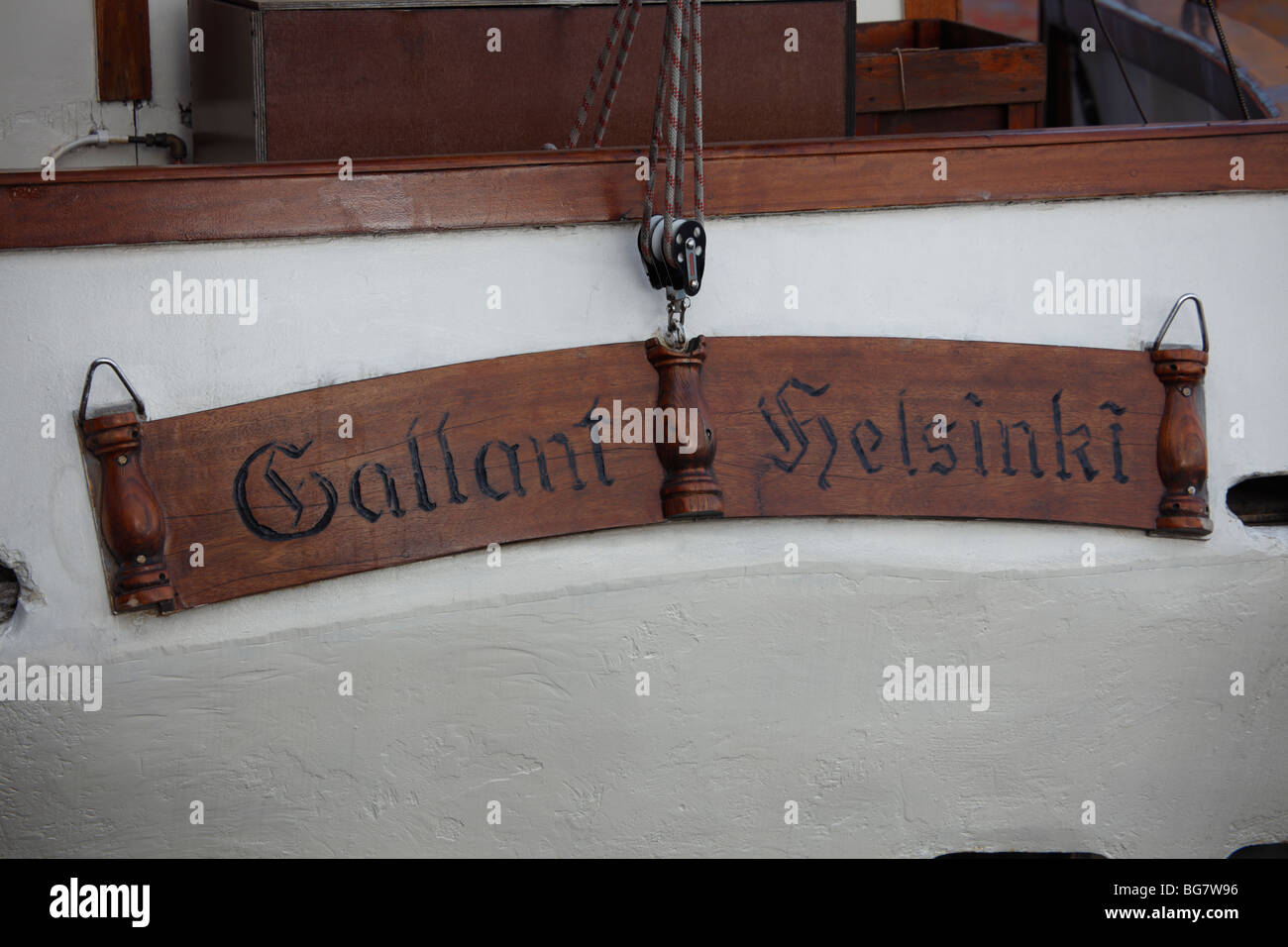 Finland, Helsinki, Helsingfors, South Harbour Esplanade, Boat Name Sign - Stock Image